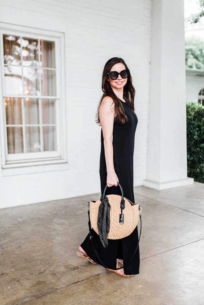 transtional black maxi dress