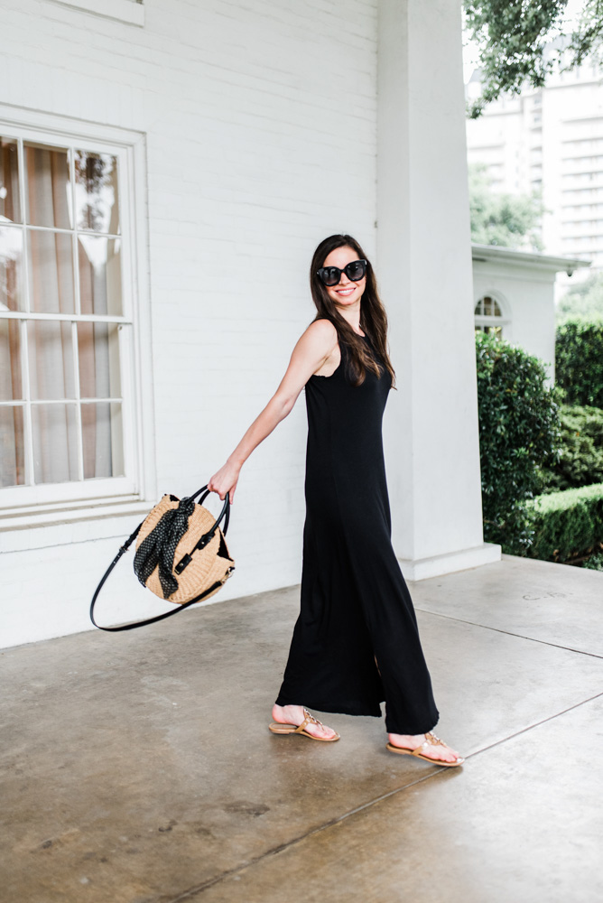 transitional black maxi dress