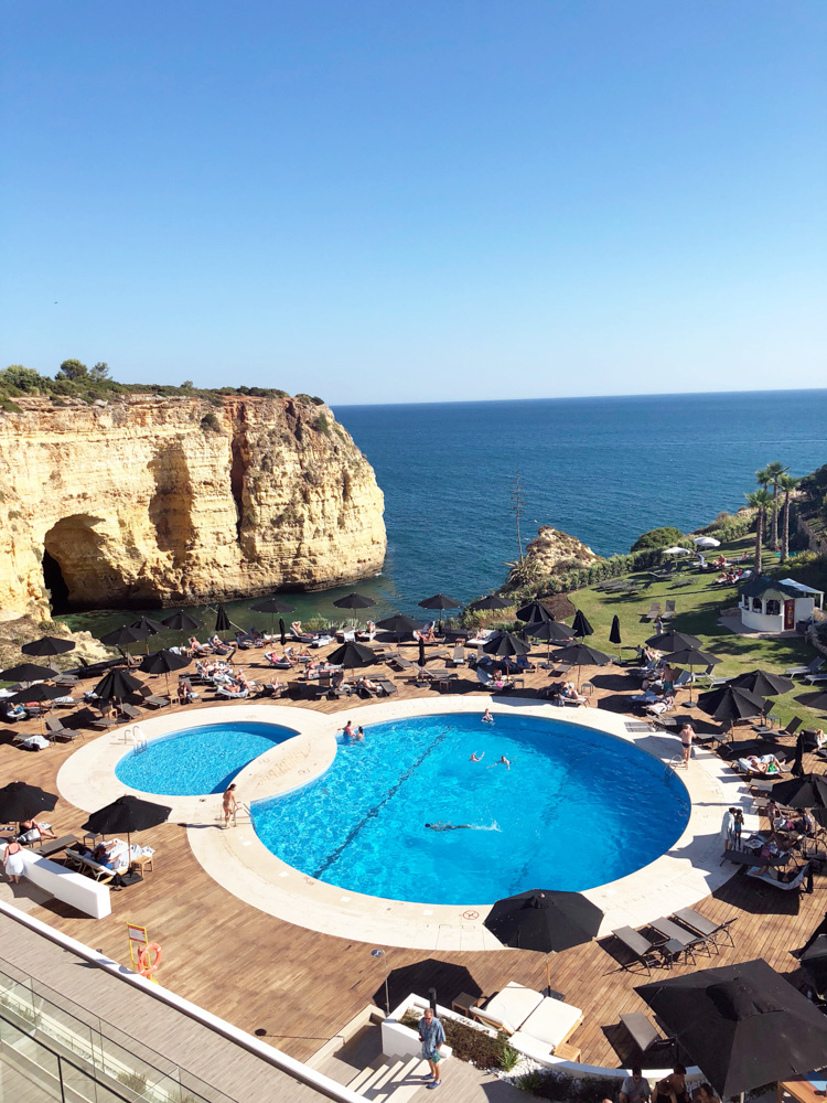 view of pool and sea tivoli hotel algarve