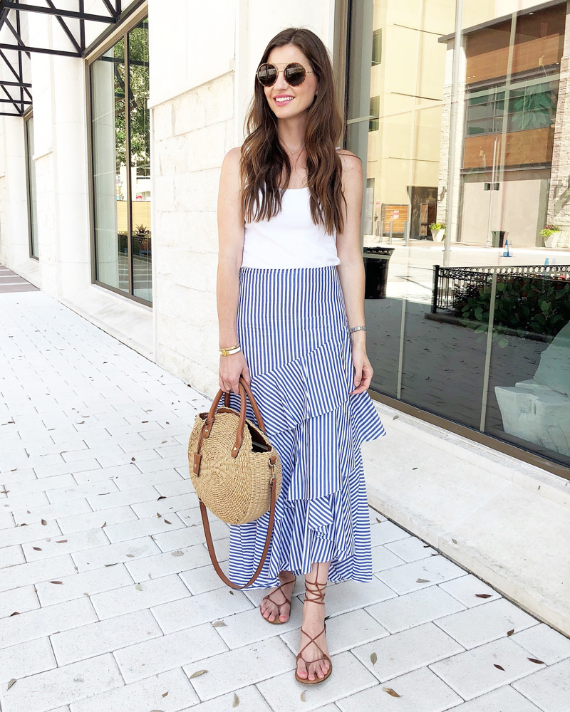 september in review tiered maxi skirt