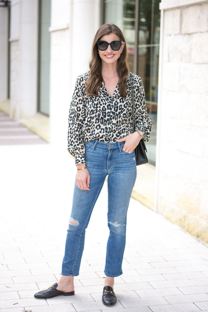 five leopard pieces we're loving leopard blouse distressed crop jeans