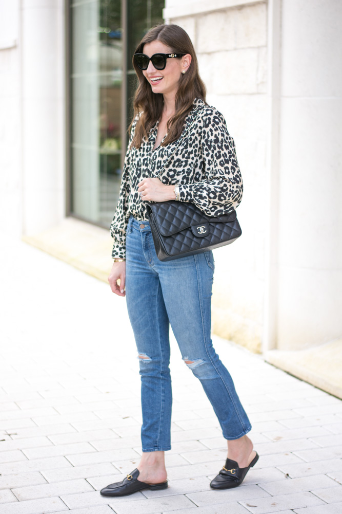 five leopard pieces we're loving leopard blouse black tote bag
