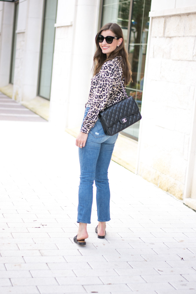 five leopard pieces we're loving leopard blouse crop jeans