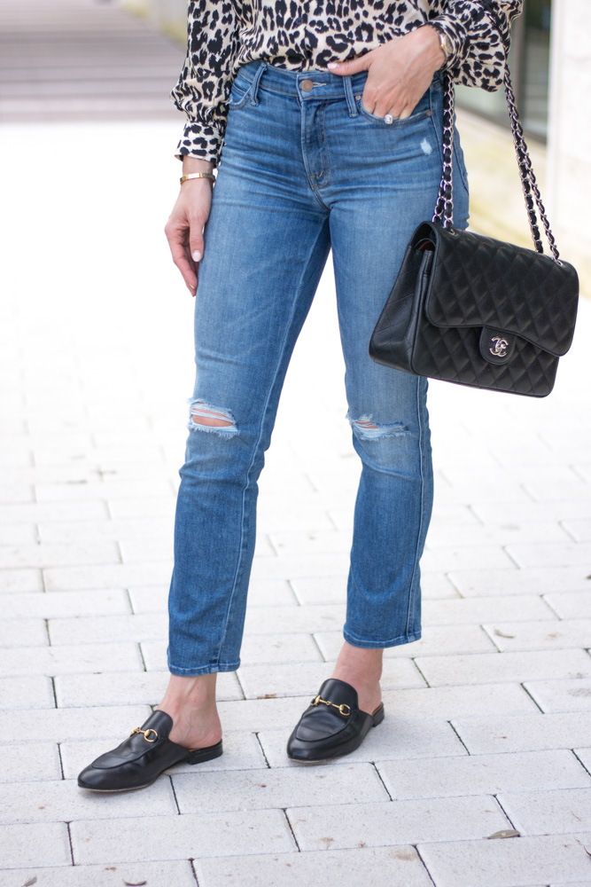 distressed jeans mule loafers