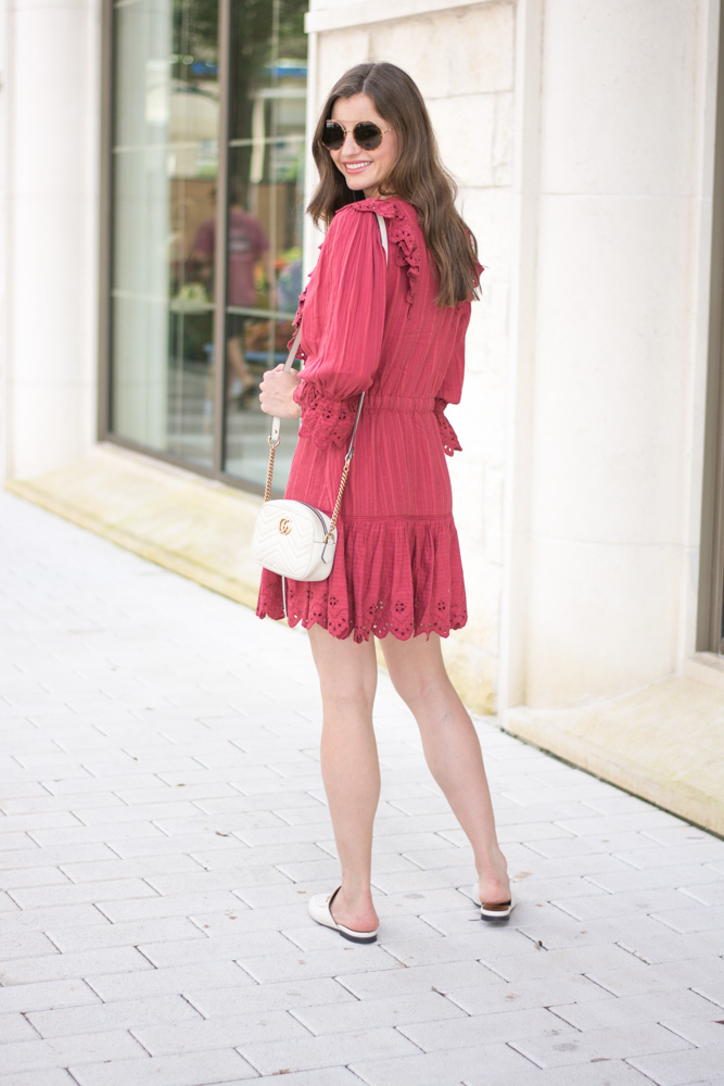 rust eyelet ruffle dress