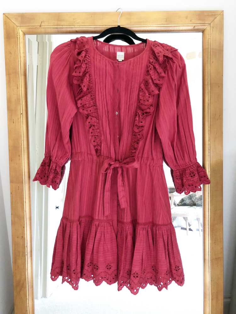 september in review red eyelet ruffle dress
