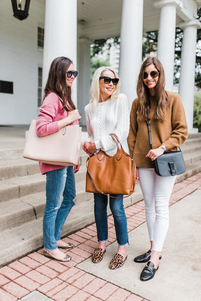 three women in sweaters for fall