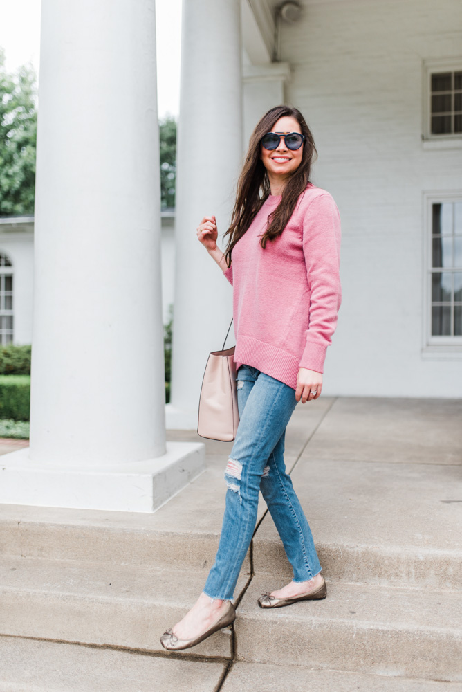 pink sweater jeans