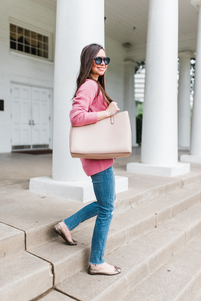 tan tote bag pink sweater