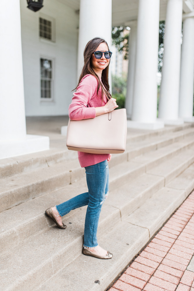 pink sweater tan tote bag