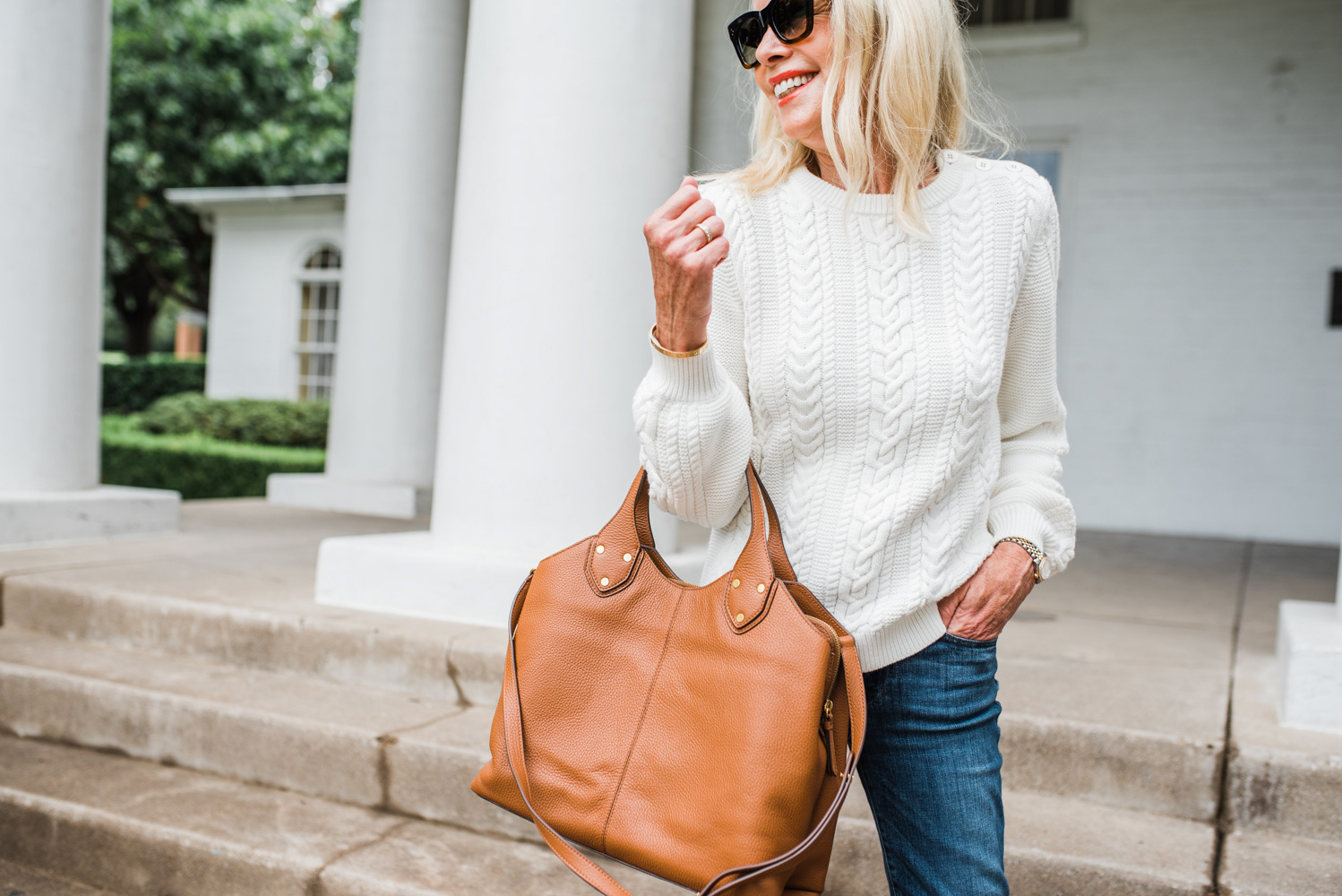 winter white cable knit sweater cognac tote