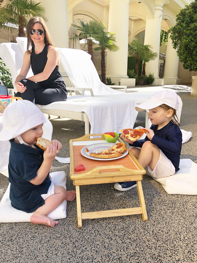 visiting las vegas with kids lunch by the pool