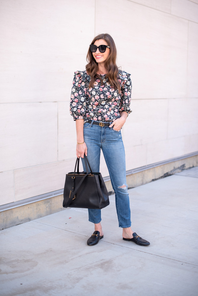3 tips for wearing floral this fall floral top jeans black handbag