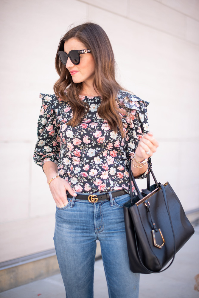 3 tips for wearing floral this fall floral ruffle sleeve top