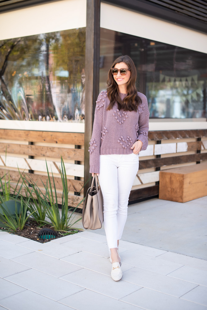 purple heart sweater white jeans