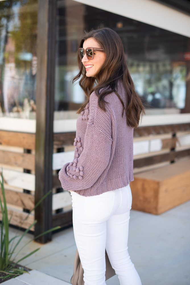 purple cozy sweater