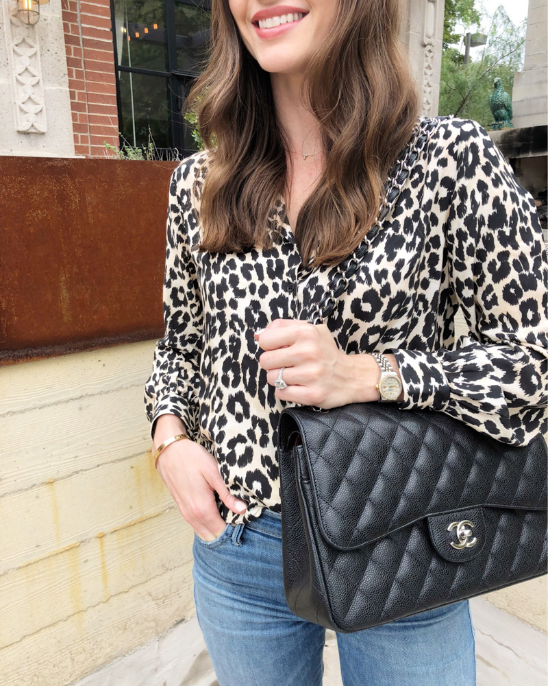 animal print top chanel quilted bag