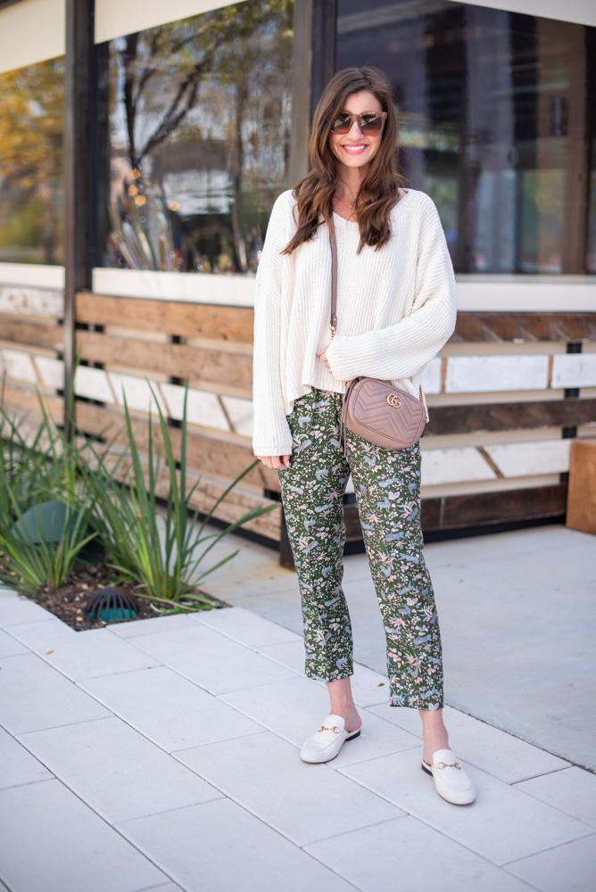 printed silk pants white oversized sweater