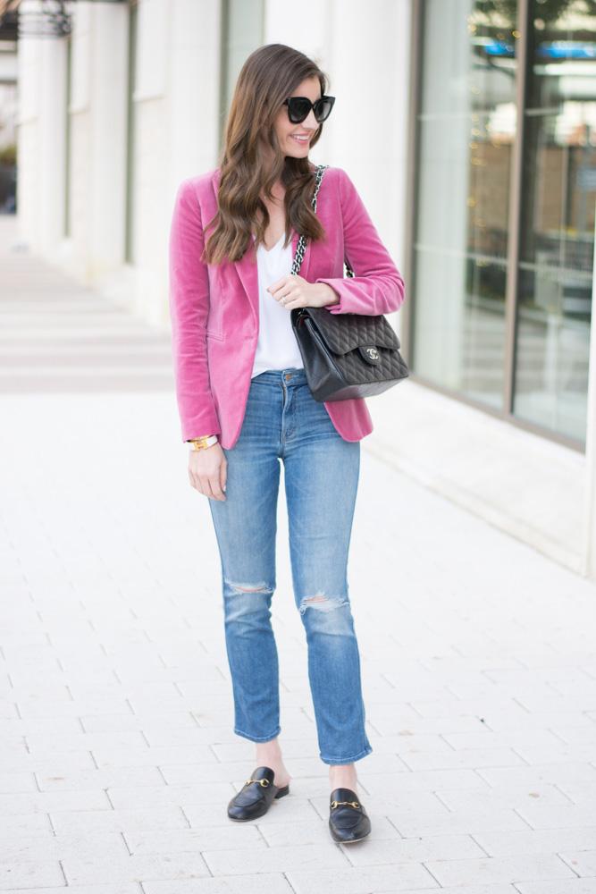 pink velvet blazer jeans black handbag