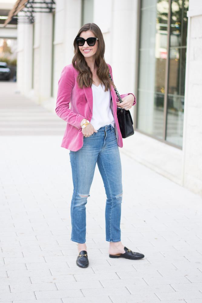 velvet blazer jeans white cami