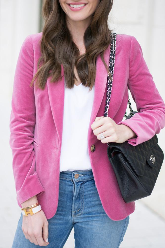 velvet blazer black handbag