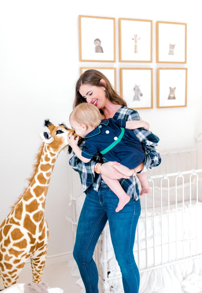 15 months with henry kissing stuffed giraffe