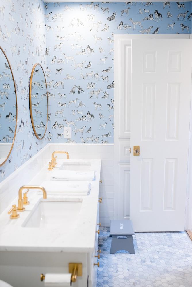 boys' bathroom details double sinks