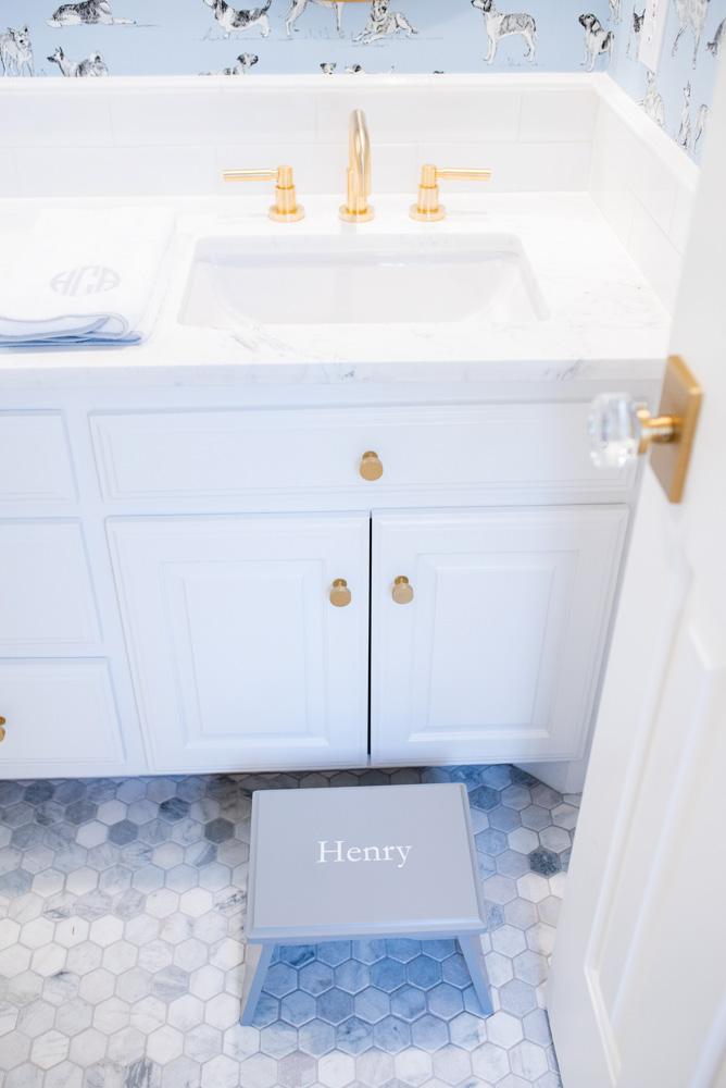 boys' bathroom details sink and step stool