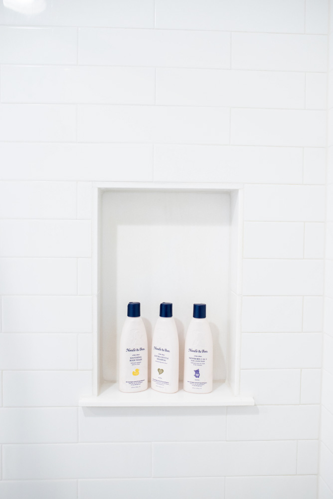 boys' bathroom details shampoo niche
