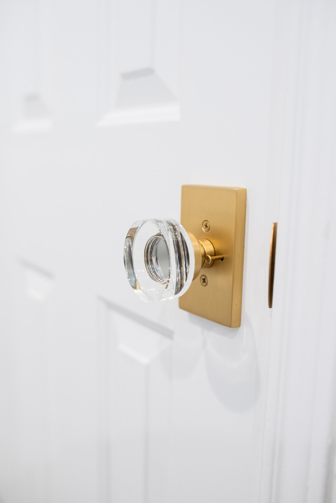 crystal door knob in satin brass