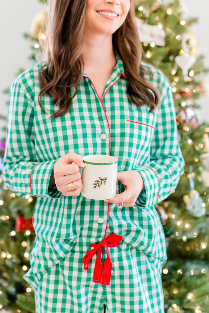 six favorite christmas traditions matching pajamas and christmas mug