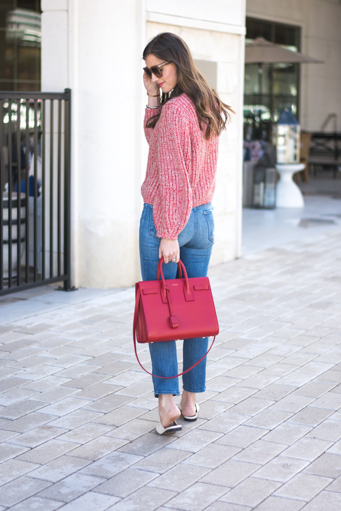 cozy red sweater for valentines day red handbag