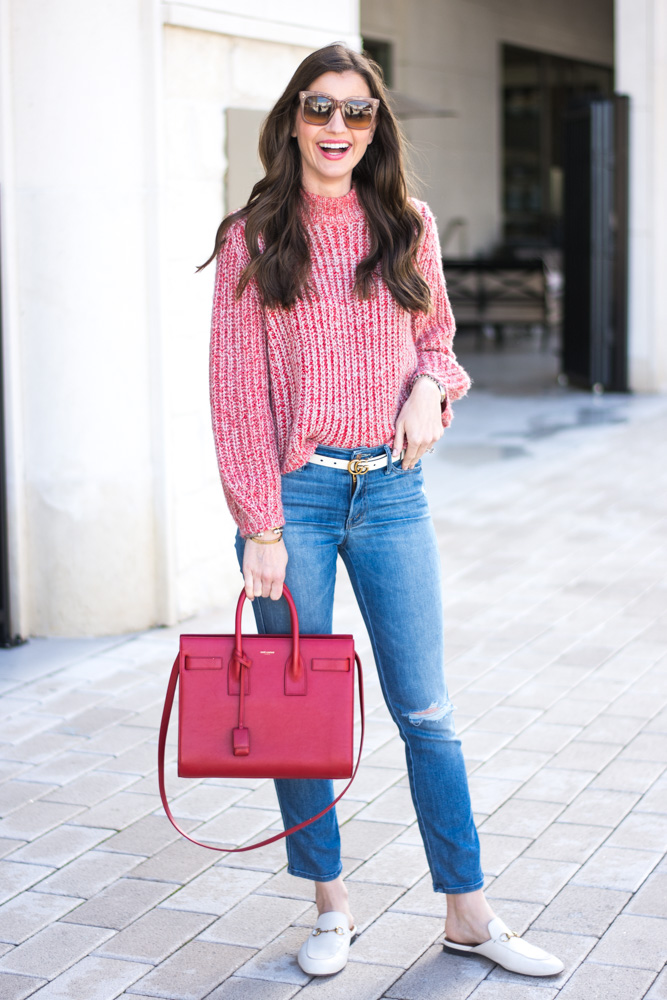 red oversized sweater jeans red handbag