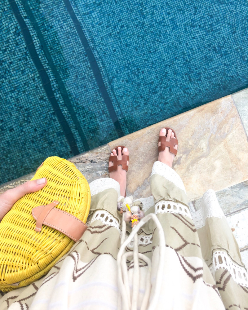 maui in january brown sandals yellow straw clutch