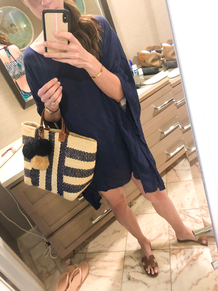 maui in january navy coverup straw bag