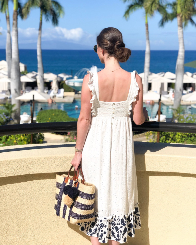 maui in january white maxi dress