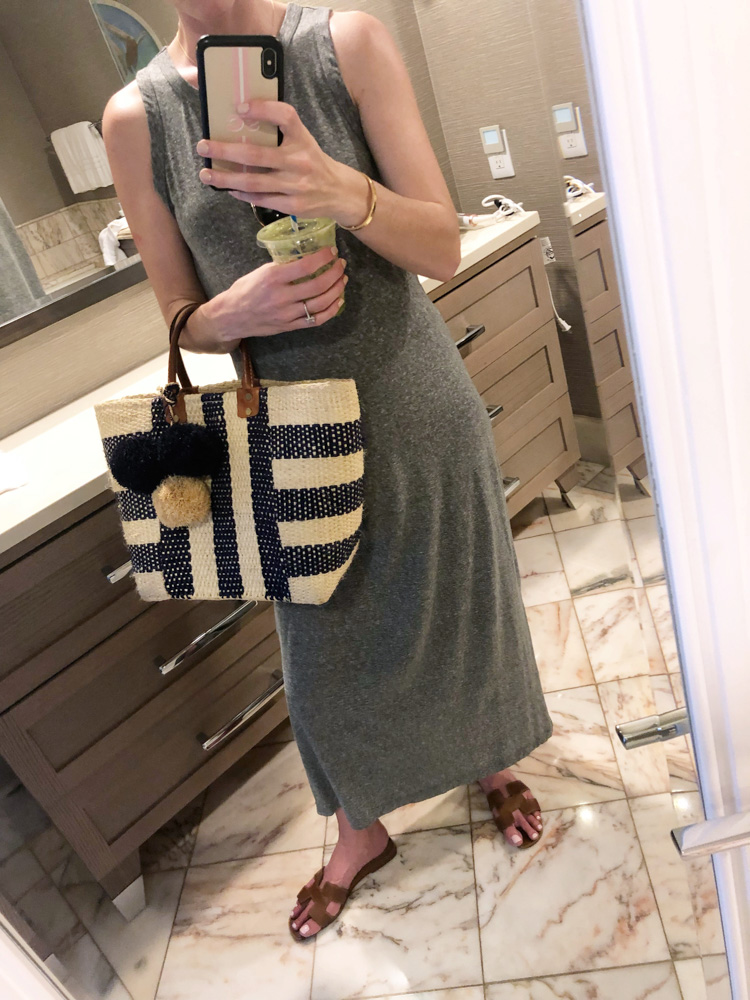 maui in january grey maxi dress straw bag