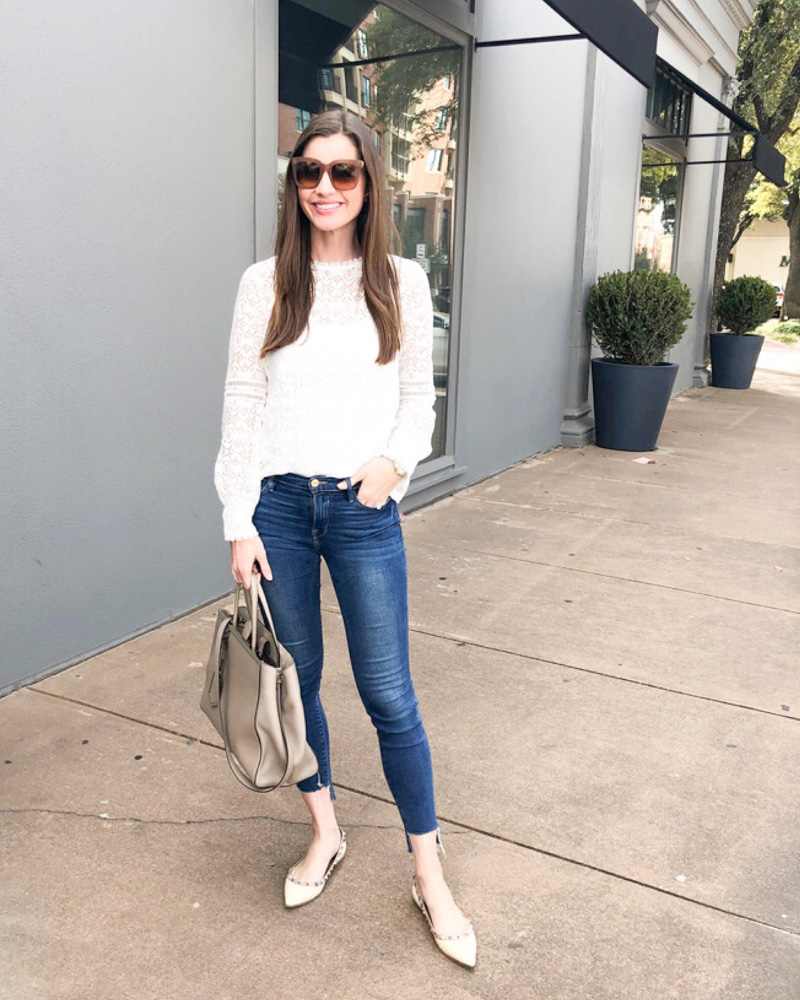 january in review white lace top jeans