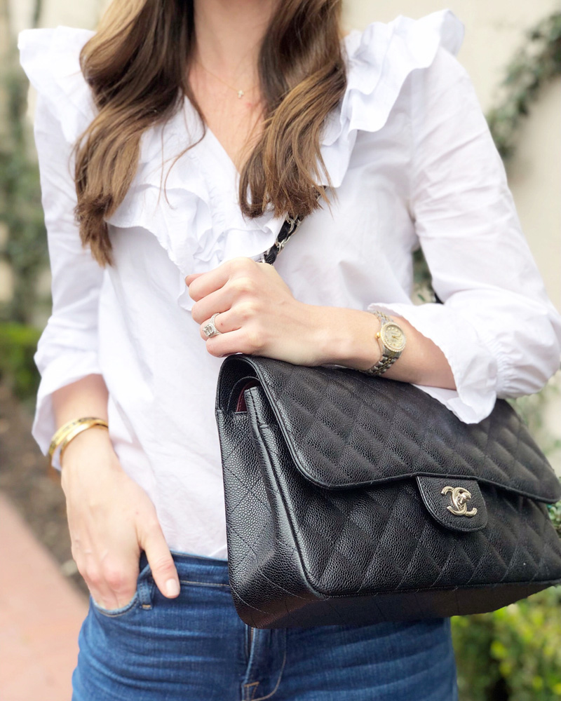 january in review white ruffle blouse chanel handbag