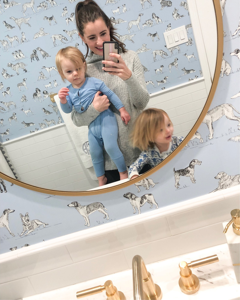 january in review mom and two boys in bathroom mirror