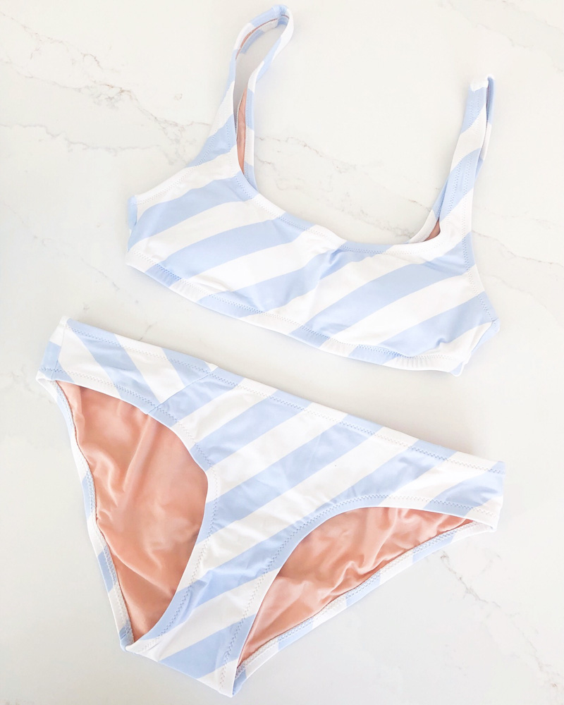 january in review blue and white striped bikini