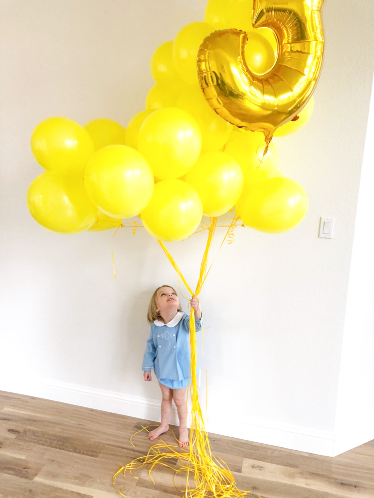 three years with william yellow balloons