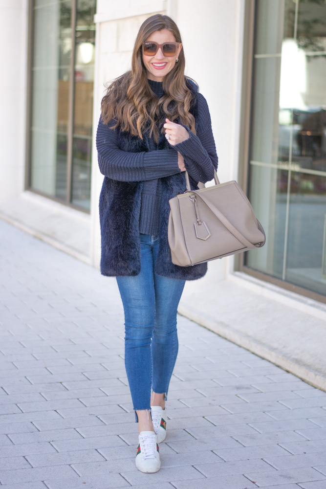 weekend casual faux fur vest sweater jeans