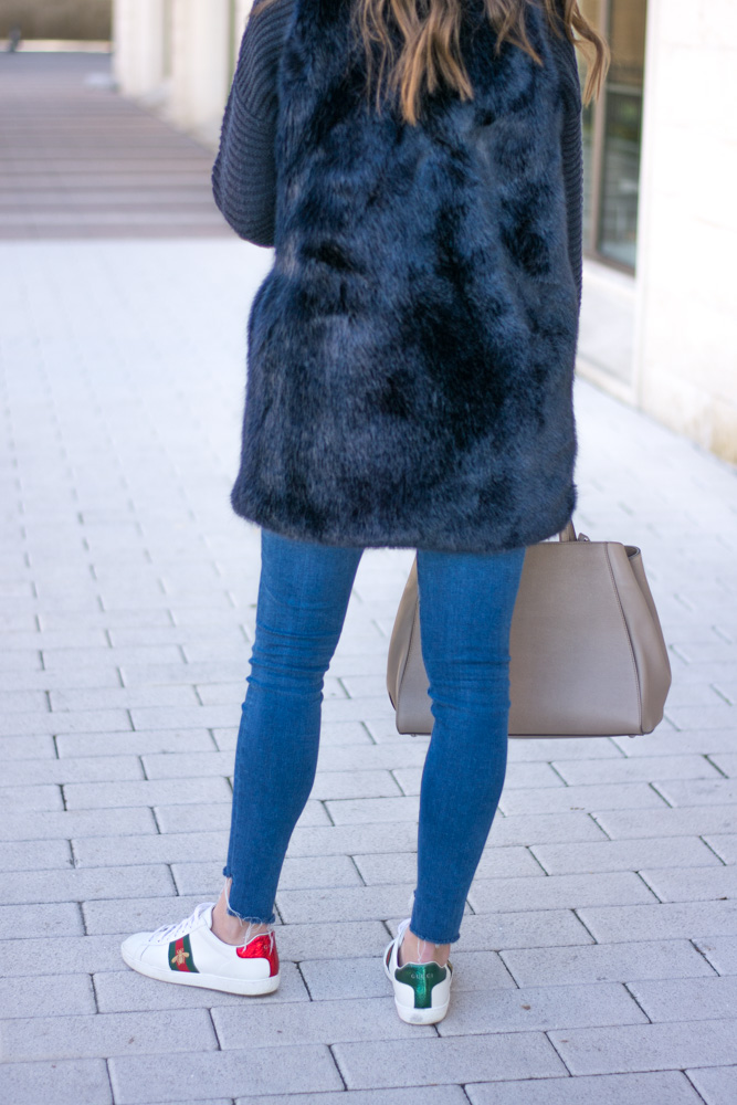 weekend casual designer sneakers fur vest