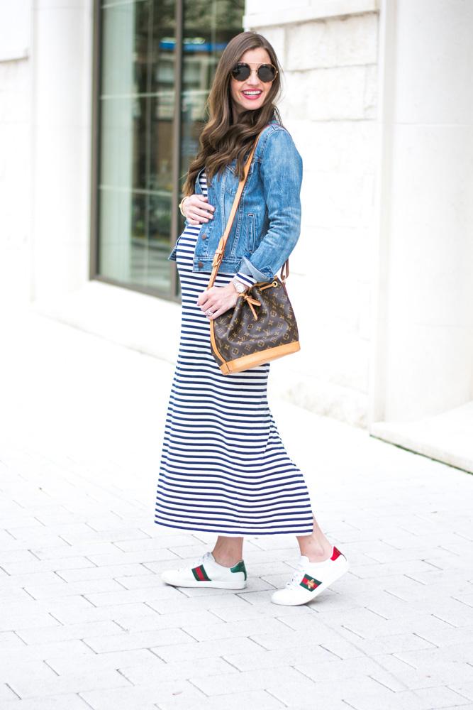 Non Maternity Striped Maxi Dress Bishop Holland Dallas Style Blog