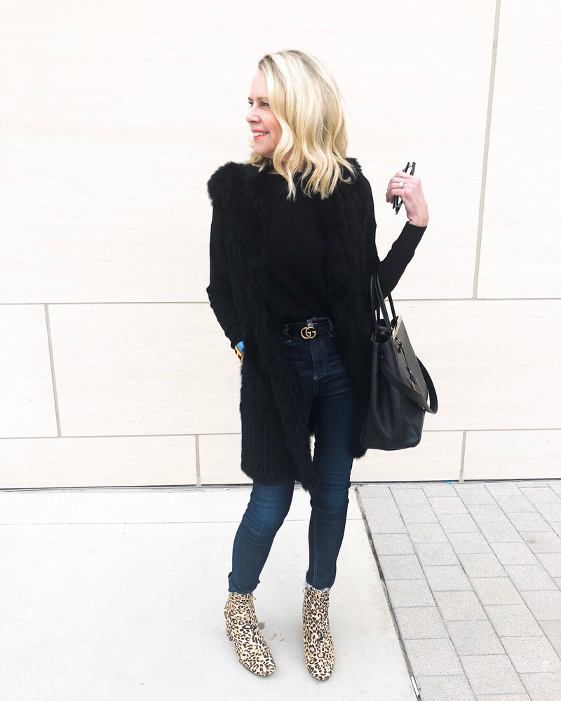 february in review black coat leopard booties
