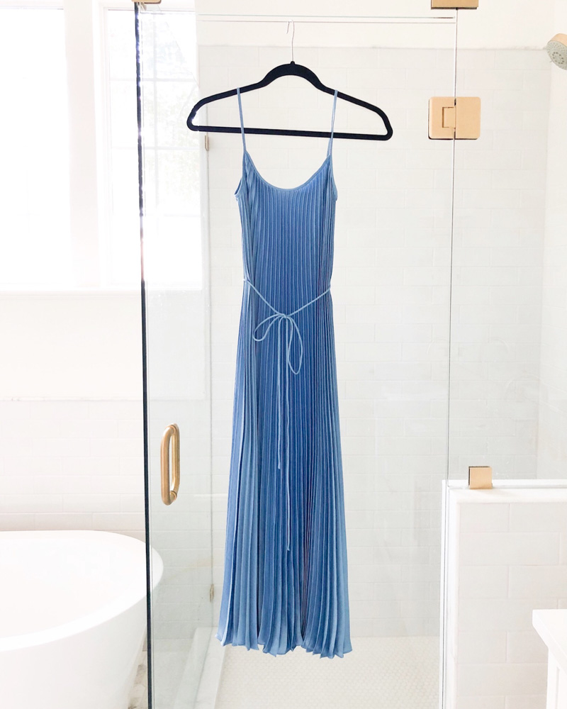 blue pleated maxi dress february in review