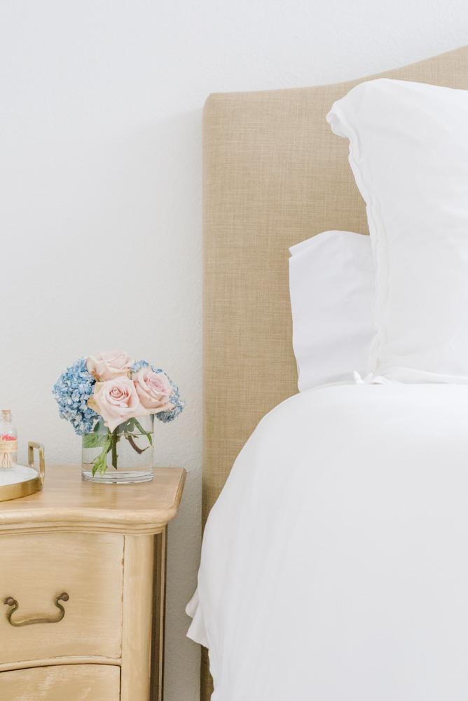 gold nightstand white bedding