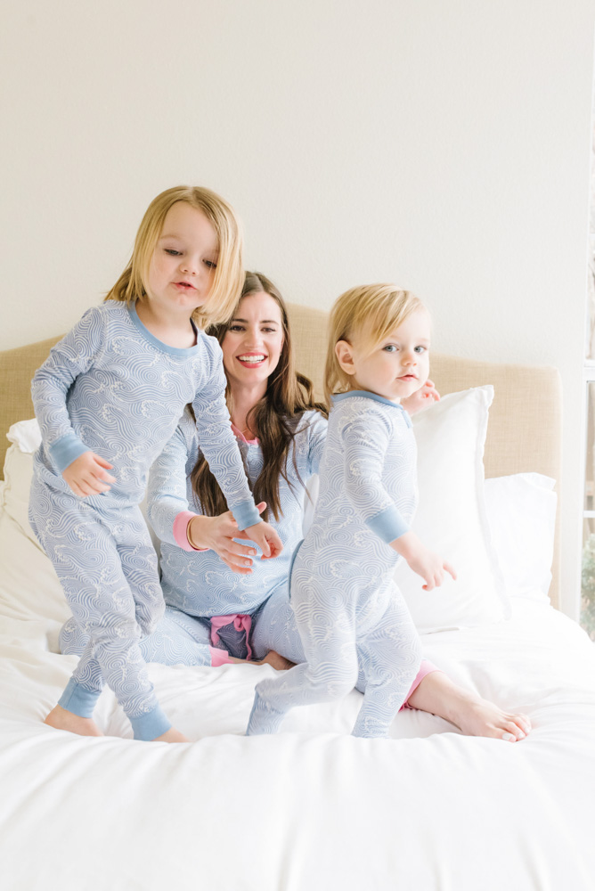 toddler boys and mom in the beaufort bonnet company pajamas