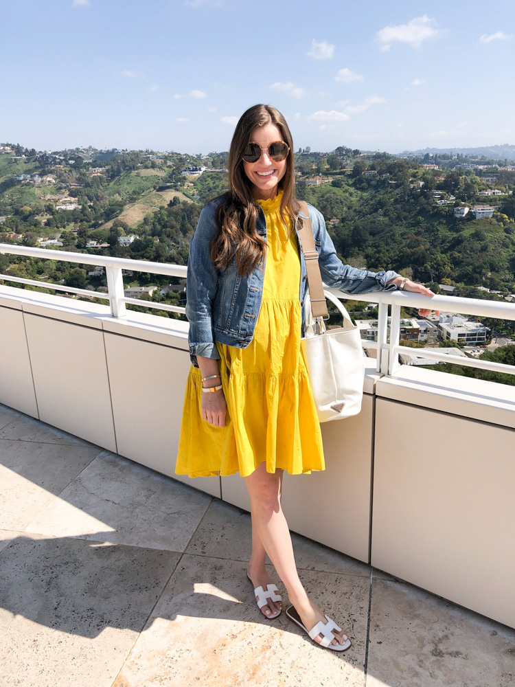 yellow rufle dress prada canvas tote hermes sandals